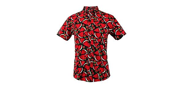 TRANKILO Camisa Negra Estampada con Sandías y Fresas en Color ...