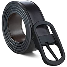 Mens Belt 100% Fine Leather Mens Belt Dress Belt Grade A Genuine Italian Leather Reversible (Black/Brown leather with Viggo Black Buckle, XXL - (44-46))