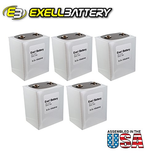 5pc Exell 276 Alkaline 9V Battery NEDA 1603, PP9, 6F100 by Exell Battery