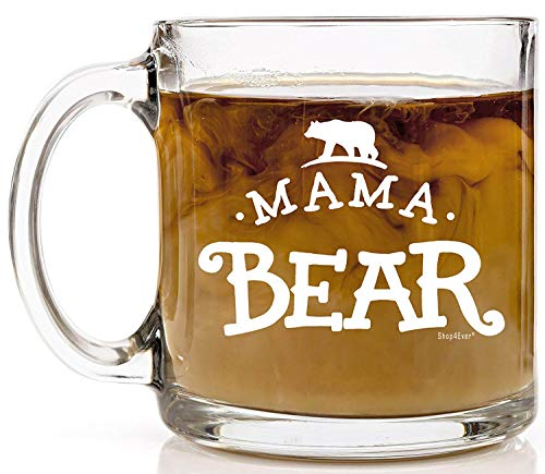 Shop4Ever Mama Bear Novelty Glass Coffee Mug Tea Cup Gift ~ Mother's Day ~ (13 oz, Clear) ()