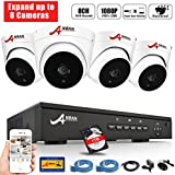 [Expandable] ANRAN 8CH PoE Home Surveillance NVR System w/4PCS 1080p Power Over Ethernet CCTV Security Dome IP Network Cameras Waterproof Outdoor Plug and Play Motion Detection 1TB Hard Drive