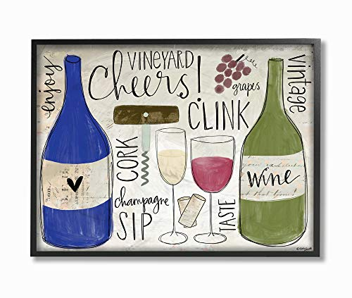 - The Stupell Home Decor Cheers Clink Sip Champagne and Wine Words and Doodles Framed Giclee Texturized Art 16x20 Multi-Color