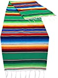 Threads West Genuine Mexican Table Runner Saltillo Serape Colorful Striped Sarape Made in Mexico (83'' x 14'', Green)