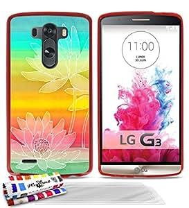 Carcasa Flexible Ultra-Slim LG G3 VS98 de exclusivo motivo [Nympheas] [Roja] de MUZZANO + 3 Pelliculas de Pantalla UltraClear + ESTILETE y PAÑO MUZZANO® REGALADOS - La Protección Antigolpes ULTIMA, ELEGANTE Y DURADERA para su LG G3 VS98