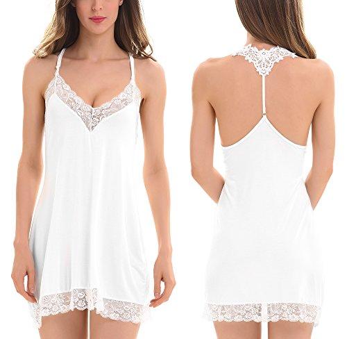 ADORNEVE Women Soft Sleepwear Nightgown Sexy Lace Trim Chemises Nightshirt