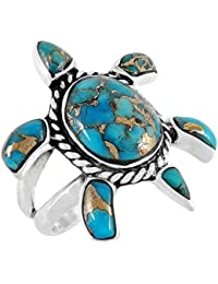 Turtle Ring in Sterling Silver 925 with Genuine Turquoise (SELECT COLOR)