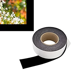 Contrast Boosting Black Border Tape for Projector Screens - Velvet Felt Frame Material (2 Inch Wide x 60 Foot Long Roll) - Premium Grade Flock w/ Adhesive Backing - DIY Craft Kit for Projection Paint