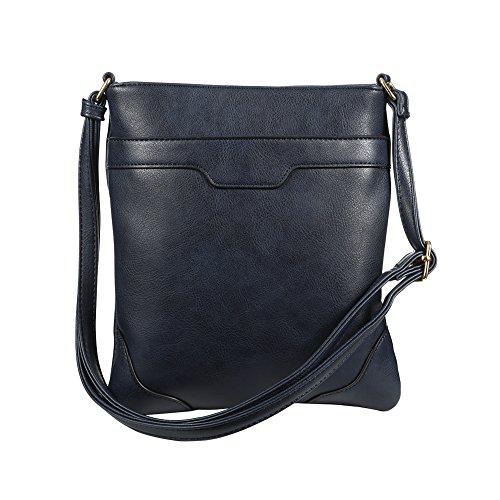 XY Fancy Crossbody Bags for Women Vegan Cross Shoulder Purses Multi Pocket Handbags, Navy Blue by XY Fancy