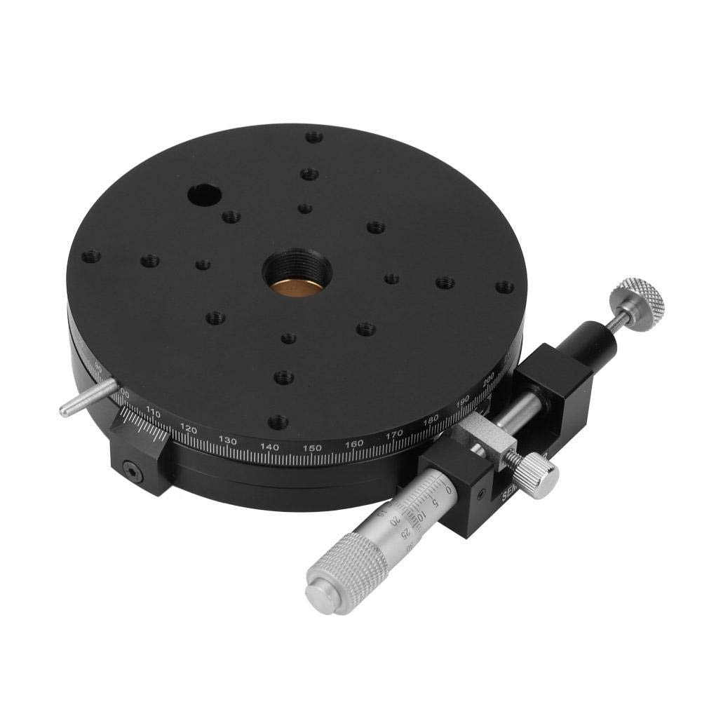 Jadpes Manual Rotation Platform Sliding Stage,R110 Displacement Stage Precision Bearing Fine-Tuning Work Slide Table Diameter /φ110mm x 25mm Thick Rotating Slide Table