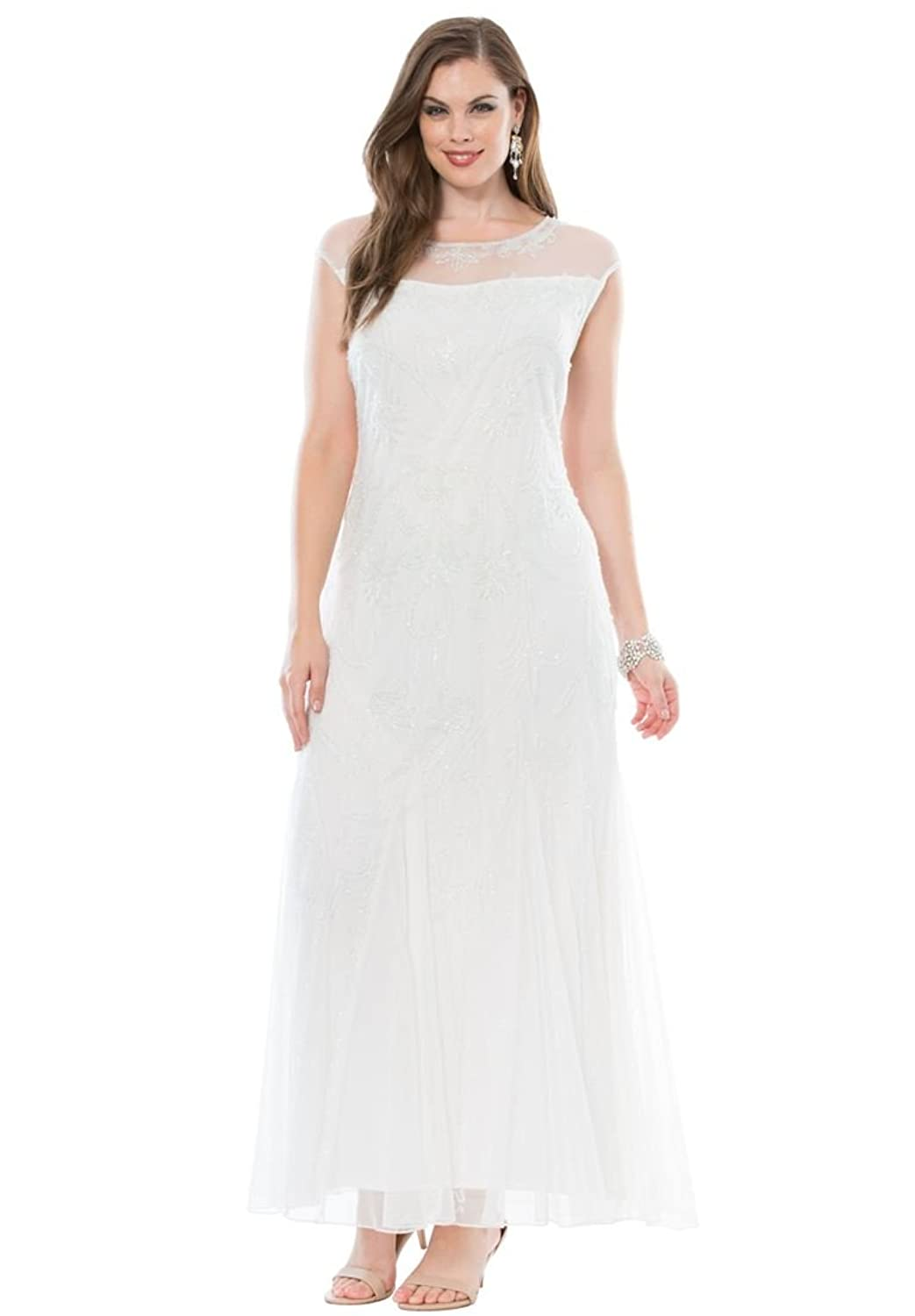 1920s Wedding Dresses- Art Deco Style Pisarro Nights Womens Plus Size Beaded Column Dress By Pisarro Nights $215.56 AT vintagedancer.com