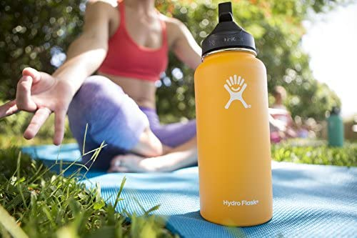 Hydro Flask Vacuum Insulated Stainless Steel Water Bottle Wide Mouth with Straw Lid (Cobalt, 32-Ounce)