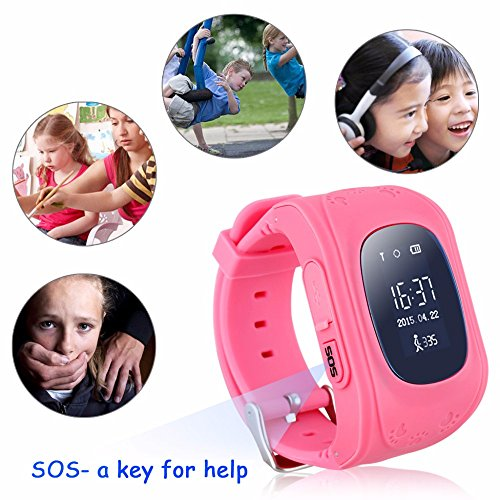 Hangang GPS Tracker for kids Smartwatch Kids Anti-erra SOS Calling Search for kids waterproof Real-time tracking, Smart watch(Not include sim card) (pink)