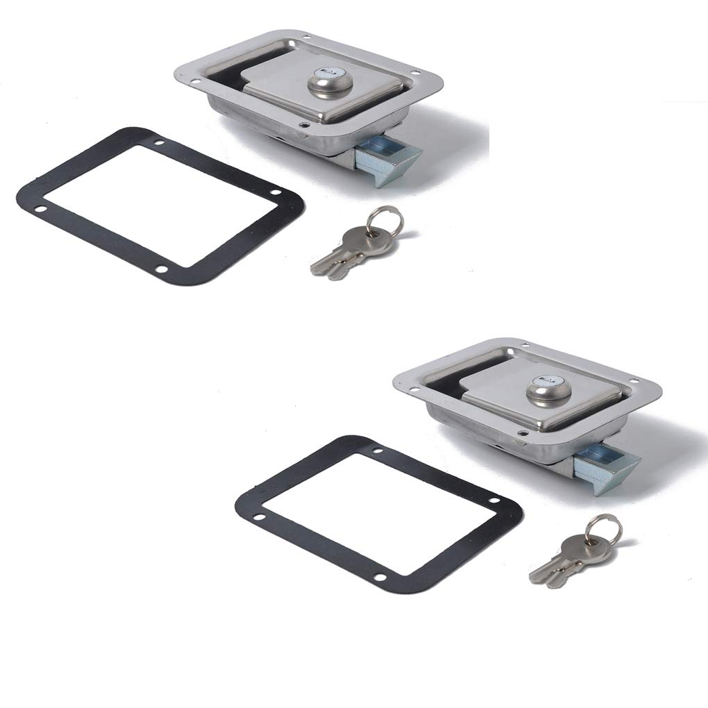 OmkuwlQ 2PCS Stainless Steel Paddle Door Lock Latch Handle and Key Compatible for Trailer Caravan Truck