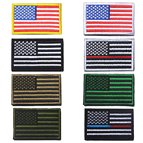 USA Flag Patch Tactical Embroidery Personalized American Army Flag Patches with Magic Sticker for Hats Bags Backpacks and Jackets,8Pcs
