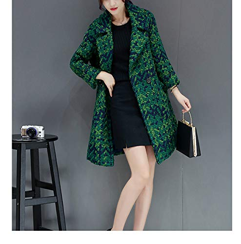 Jacket Lungo Cotton Lana Ispessimento Autunno Verde Fashion Jacket Ab Inverno Warm Plaid Slimming vento Giacca Vita a tratto Ladies Coat Donna 8SXwqt