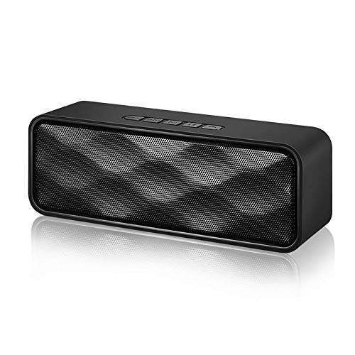 Wireless Bluetooth Speaker,Portable V4.2+EDR Speaker with HD Audio and Bass, 12-Hour Playtime, Bluetooth 4.2, TF Card Slot, Aux Input,Built-in Mic,FM Radio, Perfect for iPhone, Samsung and More(black)