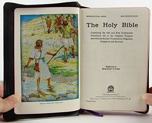 The Holy Bible - Authorized King James Version- Black Bonded Leather - Self-pronouncing - With Bible Reading Calendar, Summary of the Books of the Bible, Harmony of the Gospels, Revised Questions & Answers on the Old & New Testaments and Maps. (International Series)