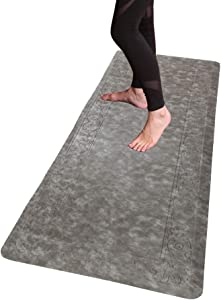 "HEBE Extra Long Anti Fatigue Comfort Mats for Kitchen Floor Standing Desk Thick Cushioned Kitchen Floor Mats Runner Waterproof Stain Resistant Kitchen Rugs Comfort Standing Mats,20""x59"",Grey"