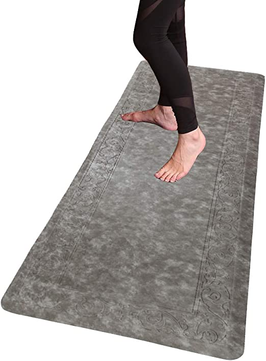 HEBE Extra Long Anti Fatigue Comfort Mats for Kitchen Floor Standing Desk Thick Cushioned Kitchen Floor Mats Runner Waterproof Stain Resistant Kitchen ...
