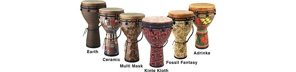 REMO Djembe, MONDO(TM), Key-Tuned, 16'' x 27'', SKYNDEEP FIBERSKYN, Black, Contour Tuning Brackets, Black Earth Finish