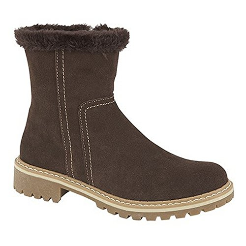 Fashion Boots Womens Dark Collar Ladies Brown Fur Thermal Cats Faux Eyes 0AHZxZ