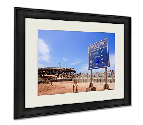 Ashley Framed Prints Mancora Surfer Beach Sign In Peru, Wall Art Home Decoration, Color, 34x40 (frame size), AG6403882 by Ashley Framed Prints