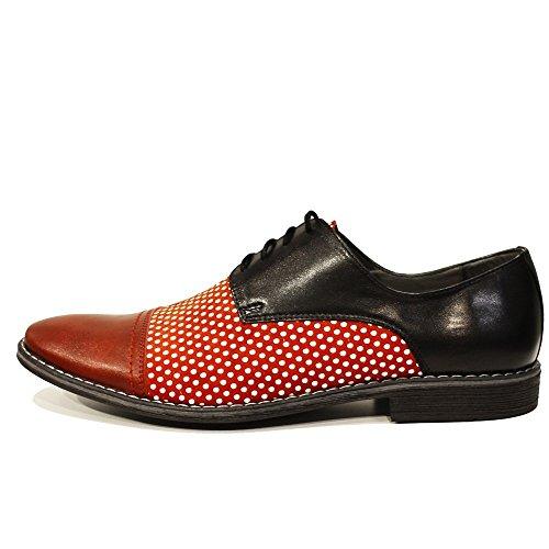 PeppeShoes Modello Lukaso - Handmade Italiennes Cuir Pour des Hommes Rouge Chaussures Oxfords - Cuir de Vachette Cuir Souple - Lacer