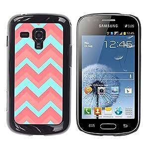 Caucho caso de Shell duro de la cubierta de accesorios de protección BY RAYDREAMMM - Samsung Galaxy S Duos S7562 - Teal Pattern Pink Clean Light