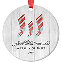 first christmas as a family of three ornament 2018 farmhouse woodsy newborn new baby parents mom dad xmas present mommy daddy ceramic porcelain keepsake 3