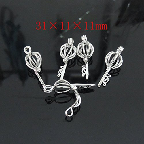 Shape Pendant Bead (10pcs Key Shape Hollow Silver Plated Bead Cage Locket Pendant - Add Your Own Beads,Stones, Rock to Cage,Add Perfume and Essential Oils to Create a Scent Fragrance Diffusing Pendant Charms)