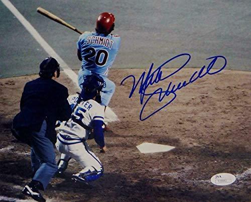Mike Schmidt Autographed Signed Philadelphia Phillies 8x10 Hitting Photo- Memorabilia JSA Auth Blu