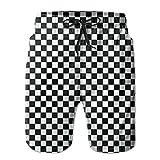 AiKe Men's Black Checkered Summer Beach Shorts Quick-Drying Swimwear Shorts Pocket Beach Surfing Boardshorts