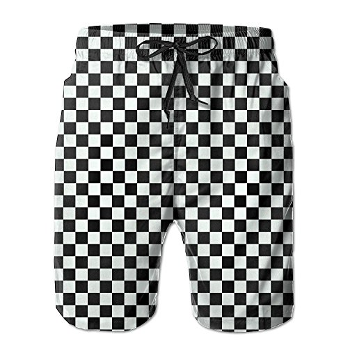 AiKe Men's Black Checkered Summer Beach Shorts Quick-Drying Swimwear Shorts Pocket Beach Surfing Boardshorts by AiKe