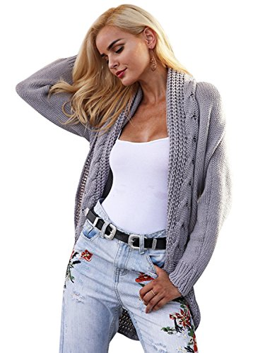 Sweater Long Cardigan Knit (Simplee Women's Oversized Open Front Batwing Sleeve Long Knit Cardigan Sweater)