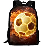 Markui Adult Travel Hiking Laptop Backpack Blazing Football School Multipurpose Durable Daypacks Zipper Bags Fashion