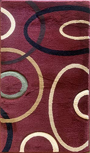 Contempo Modern Door Mat Contemporary 400,000 Point Area Rug Burgundy Black Beige Green Geometric Design 321 (2 Feet X 3 Feet 4 Inch) ()