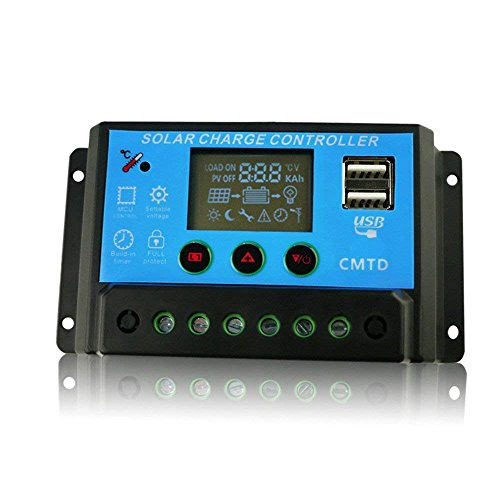 COSSCCI 20A 12V/24V Solar Charge Controller USB Port, LED Screen, Temprature Compensation by COSSCCI