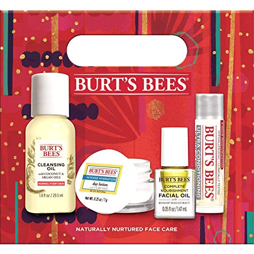 51E1vENztvL - Burt's Bees Naturally Nurtured Face Care Holiday Gift Set, 4 travel sized Products Mini Day Lotion, Mini Cleansing Oil, Mini facial Oil, Ultra Conditioning Lip Balm