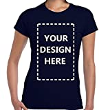 Ladies Custom Add Your Own Design Photo Text Name Here Cotton T Shirts Royal Blue M