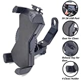 PROCYMD 2 in 1 Waterproof 12V to 85V Motorcycle E-Bike Phone Holder with 5V 2A USB Charger for 3.5'' to 7'' GPS/Smartphone/ Mobile Devices on Scooter Rearview Mirror(Black)