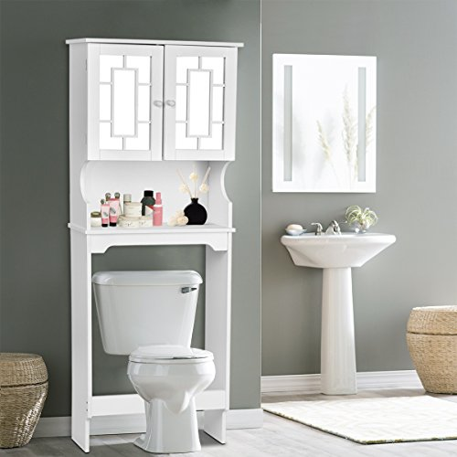 - Giantex Bathroom Over-the-Toilet Space Saver with Shelf and 2-Door Mirrored Cabinet, White