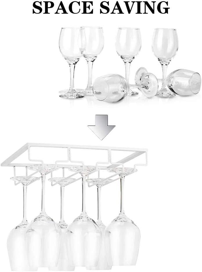 1 Set, Marr/ón YunNasi Soportes para Copas de Vino de Metal Organizador Mantener los Vasos Secos Debajo del Gabinete para Bar Restaurante Cocina