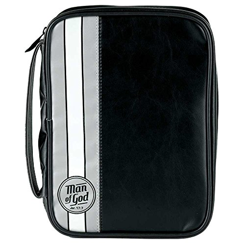 Man Of God Black With White Stripe Vinyl Large Bible Cover Case With Handle by Dicksons