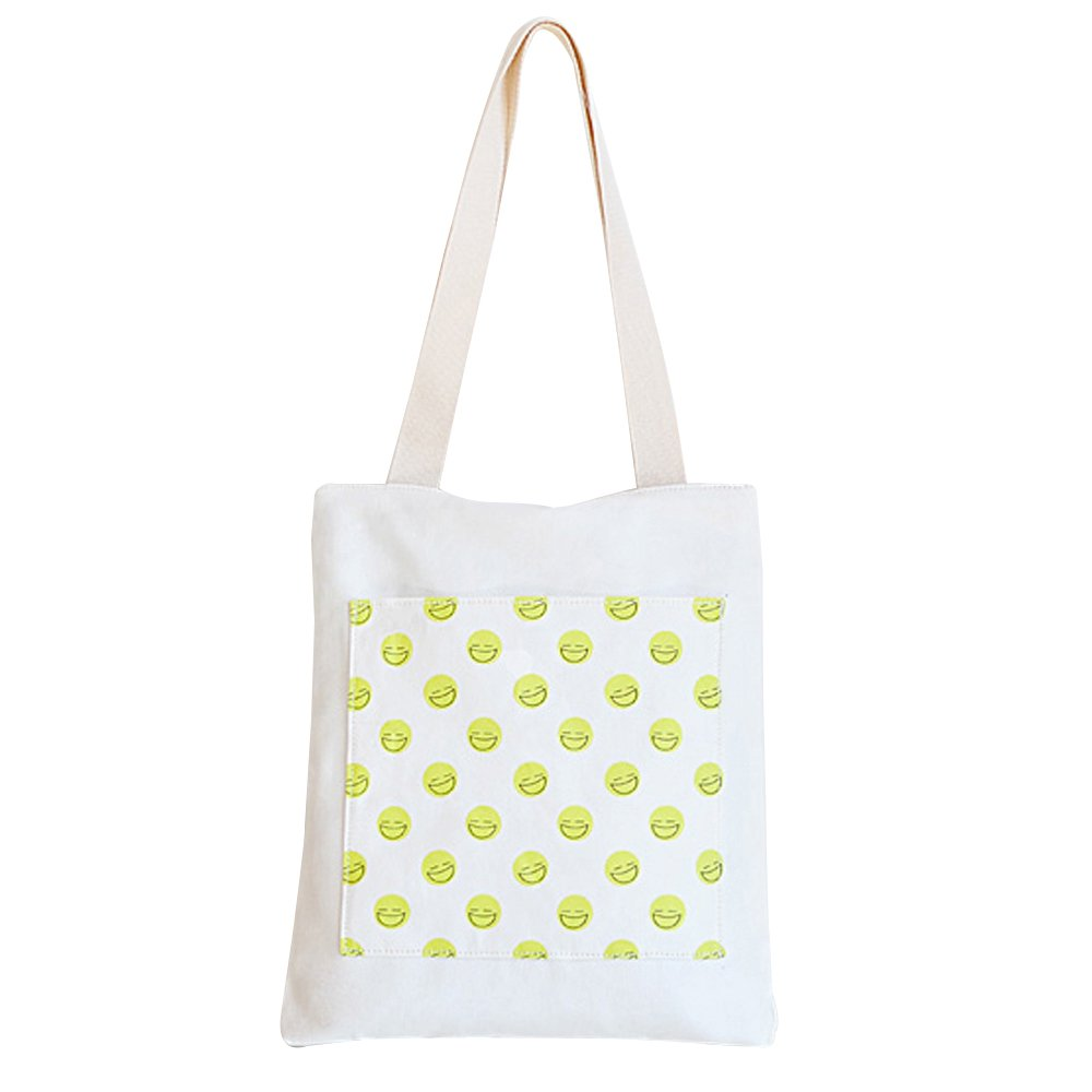 Flowertree Women's Lovely Fruit Animal Print Canvas Tote Bag Shoulderbag (white/smiley)