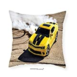 VROSELV Custom Cotton Linen Pillowcase Manly Decor Collection Luxury Sport Car Drifting Smoke Fast Speed Competition Motion Capture Picture Bedroom Living Room Dorm Black Yellow Ivory 24''x24''