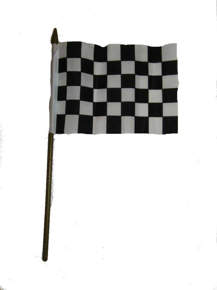 Black and White Checkered Racing Flag 4''x6'' Desk Set Black Base Gold Staff Vivid Color and UV Fade Resistant Canvas Header and polyester material
