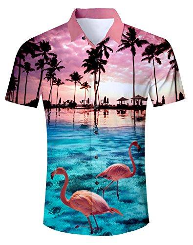 uideazone Men Hawaiian Shirts Summer 3D Printed Short Sleeve Button Down Aloha Shirt