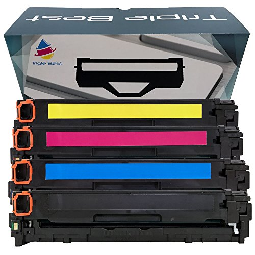 Triple Best Set of 4 131 Black Cyan Magenta Yellow Laser Toner Cartridge for Replacement of Canon 131 Black Cyan Magenta Yellow Laser Toner Cartridge