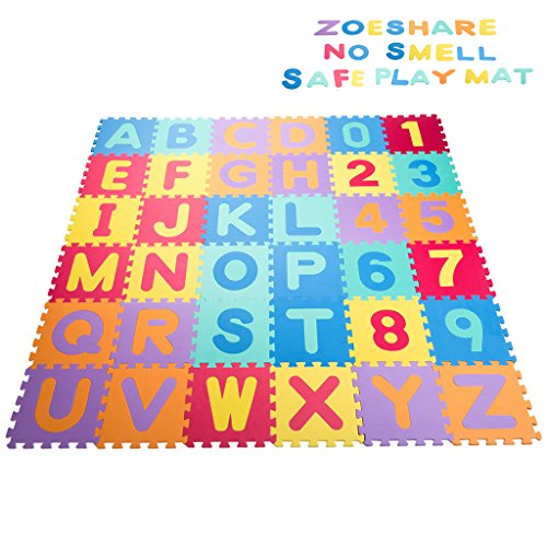 Zoeshare 36 Piece Kids Puzzle Play Mat with Foam, Alphabet and Numbers