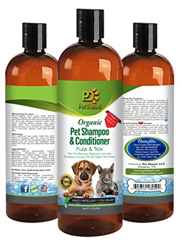 Flea & Tick Pet Shampoo & Conditioner Organic For Itch Free, Dry Skin, Preventative & Relief, Pest Free For Pet Shiny Healthy Hair & Coat 17 Oz by Pet Diesel